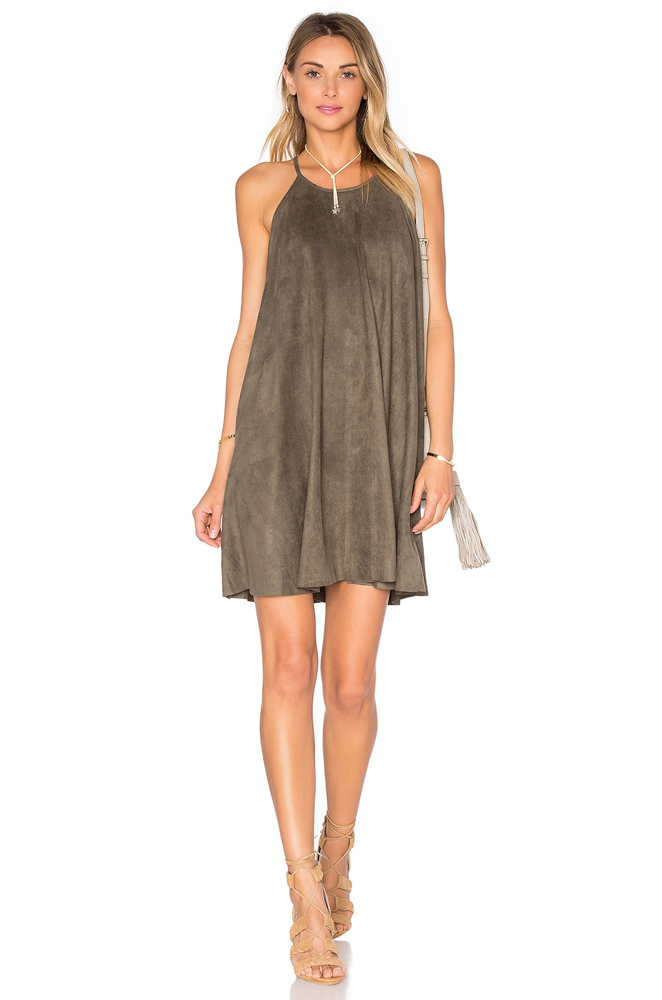 Suede High Neck Shift Dress by Bishop + Young