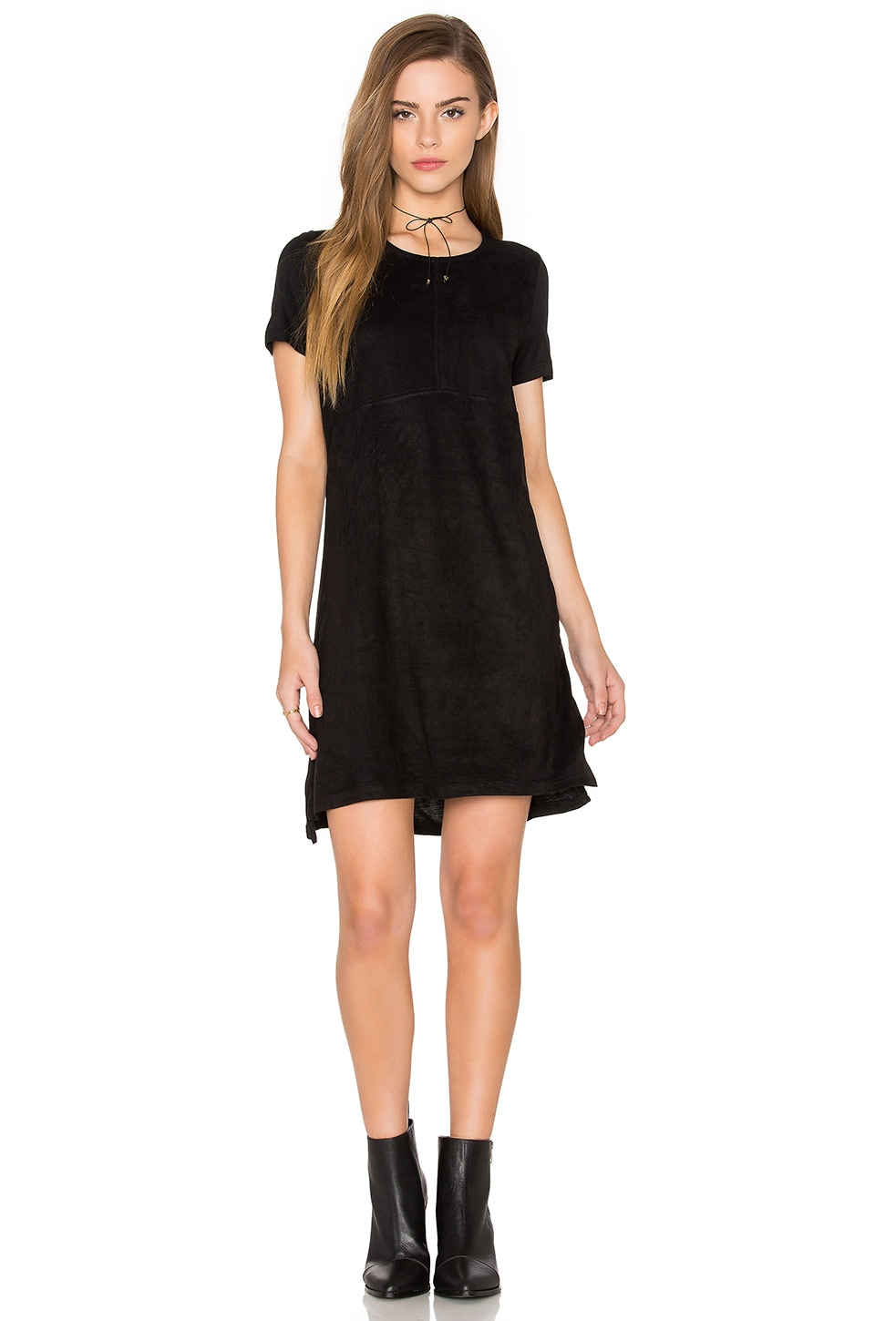 Short Sleeve Knit & Suede Dress by Bishop + Young