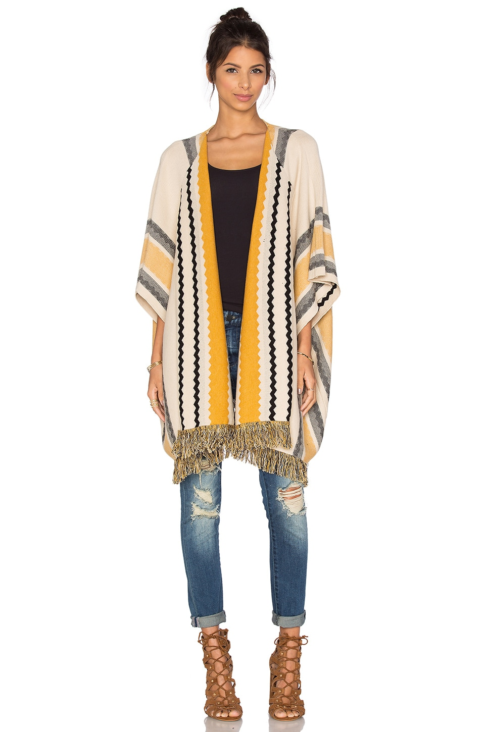 Bishop + Young Striped Fringe Sweater in Ivory