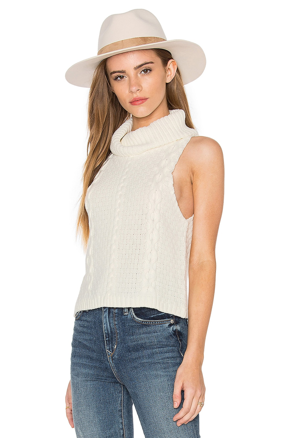 Bishop   Young Cropped Cowl Neck Sweater in Ivory | REVOLVE