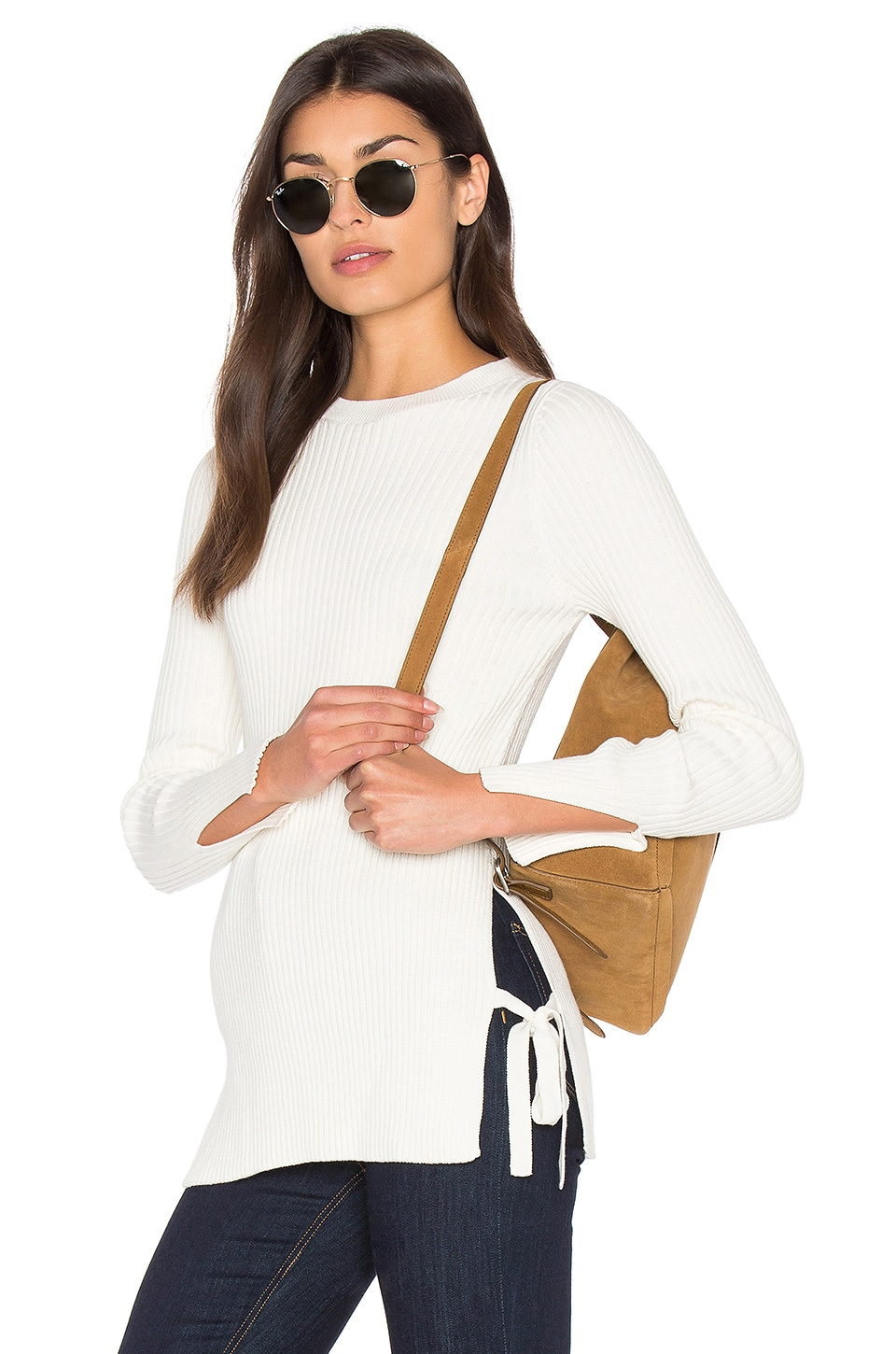 Bishop + Young Ribbed Side Tie Sweater en Ivory