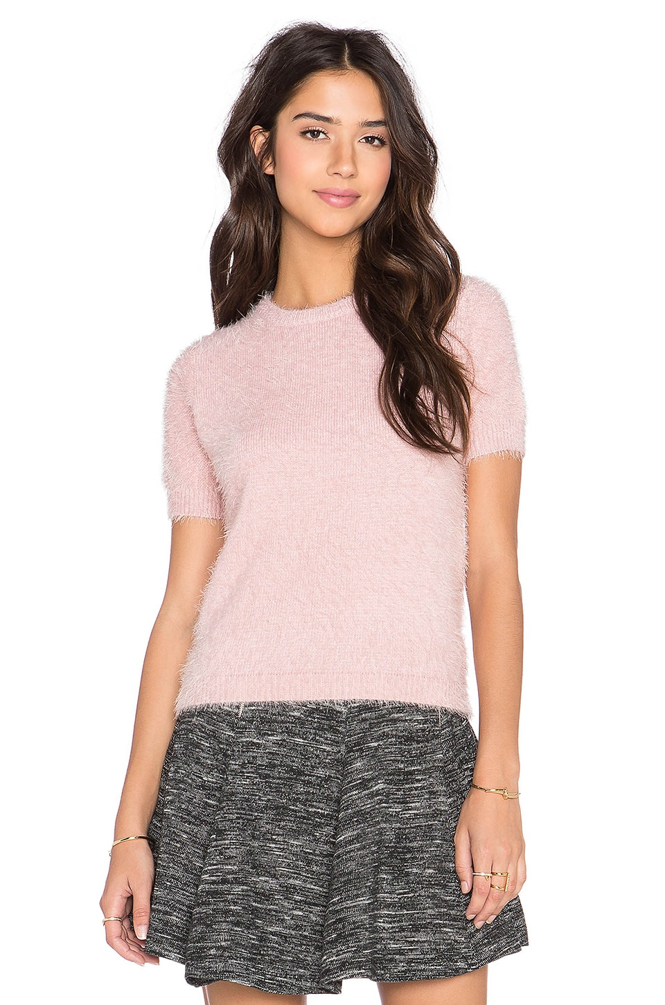 Bishop   Young Fluffy Short Sleeve Sweater in Pink | REVOLVE