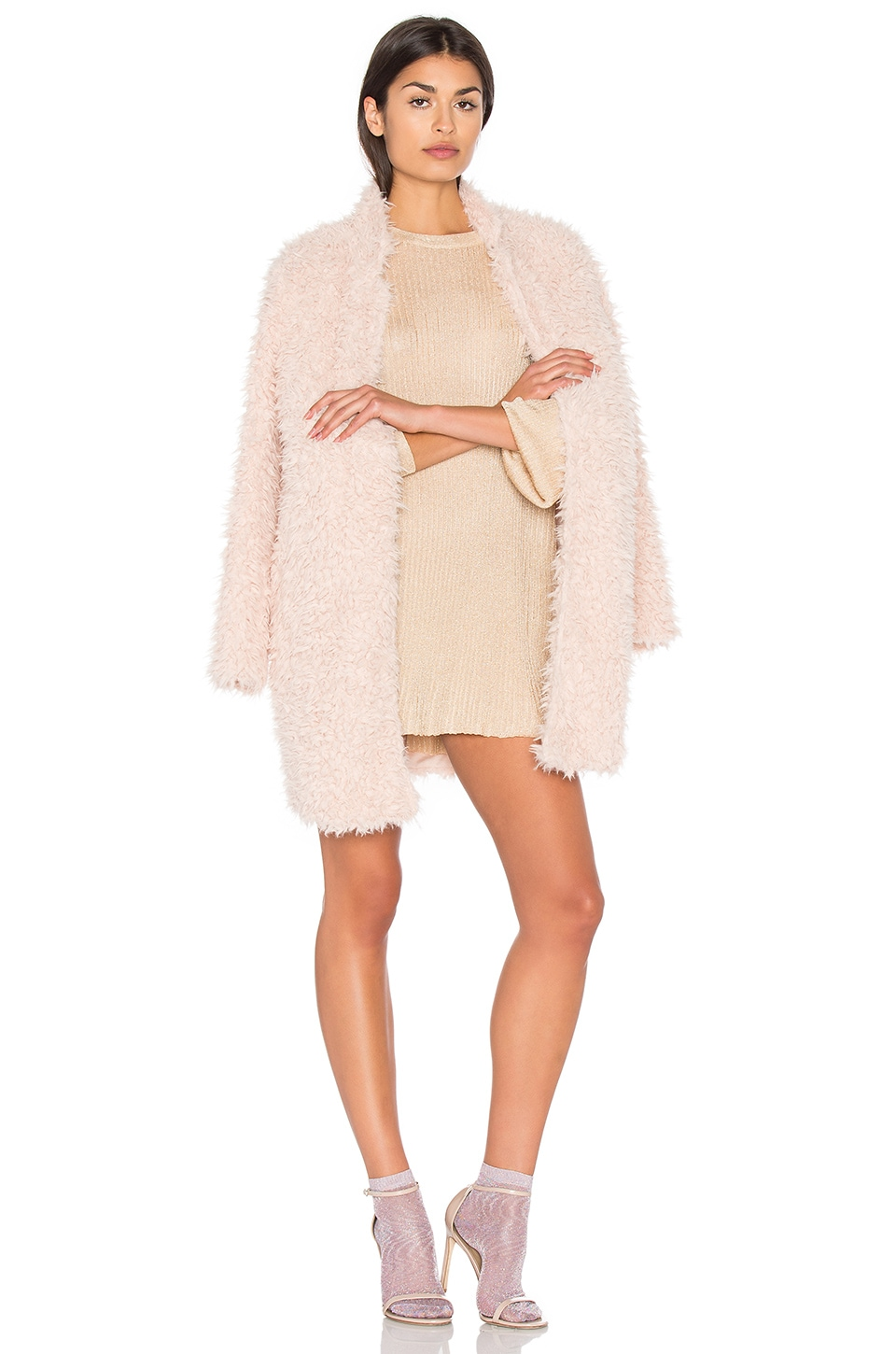 Bishop + Young Long Faux Fur Jacket in Camel