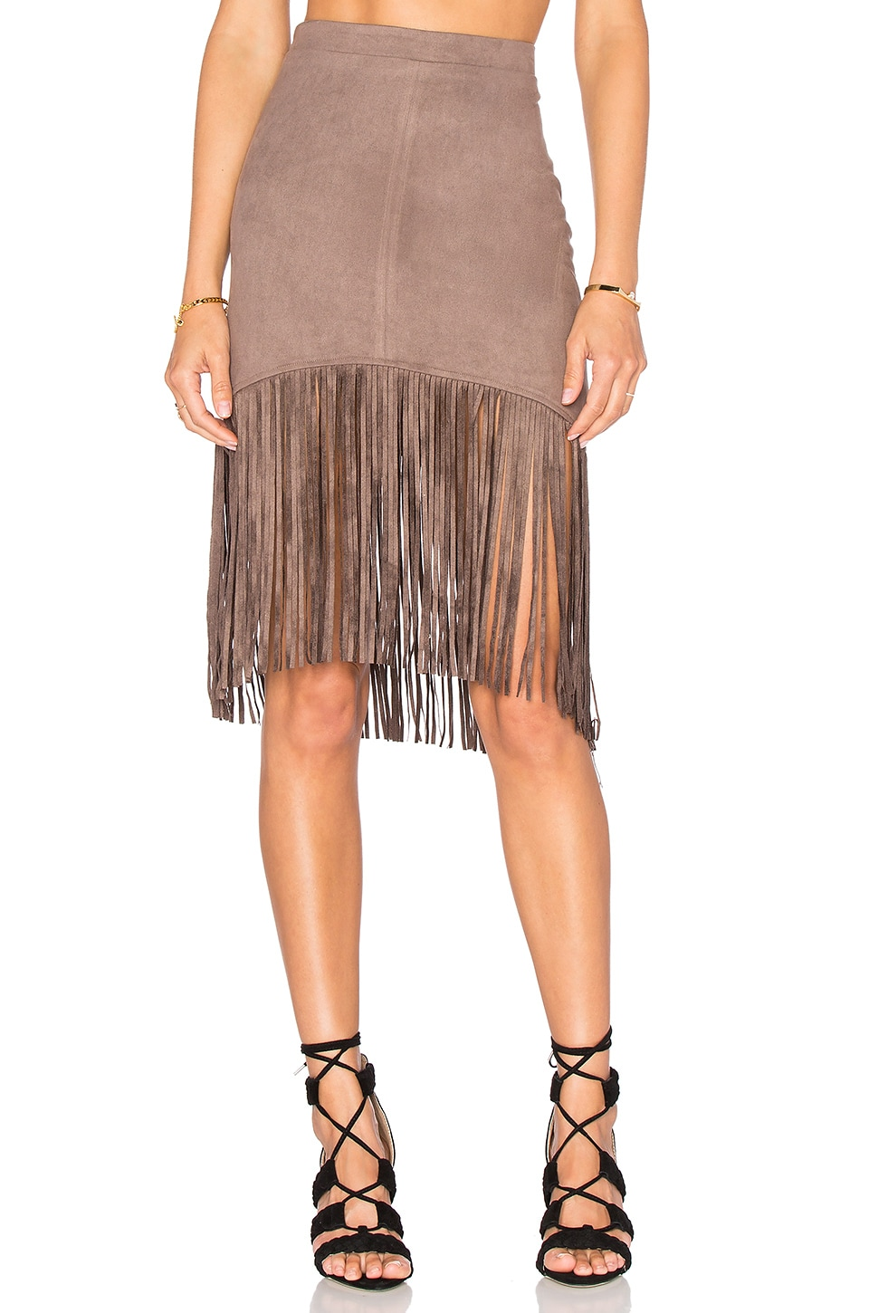 Suede Fringe Skirt by Bishop + Young
