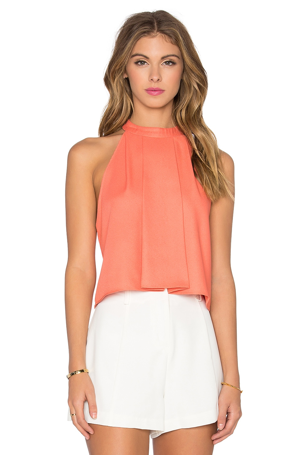 Bishop + Young High Neck Crop Tank in Coral