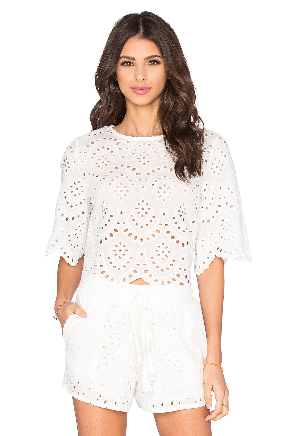 Bishop + Young Margaux Eyelet Crop Top in White
