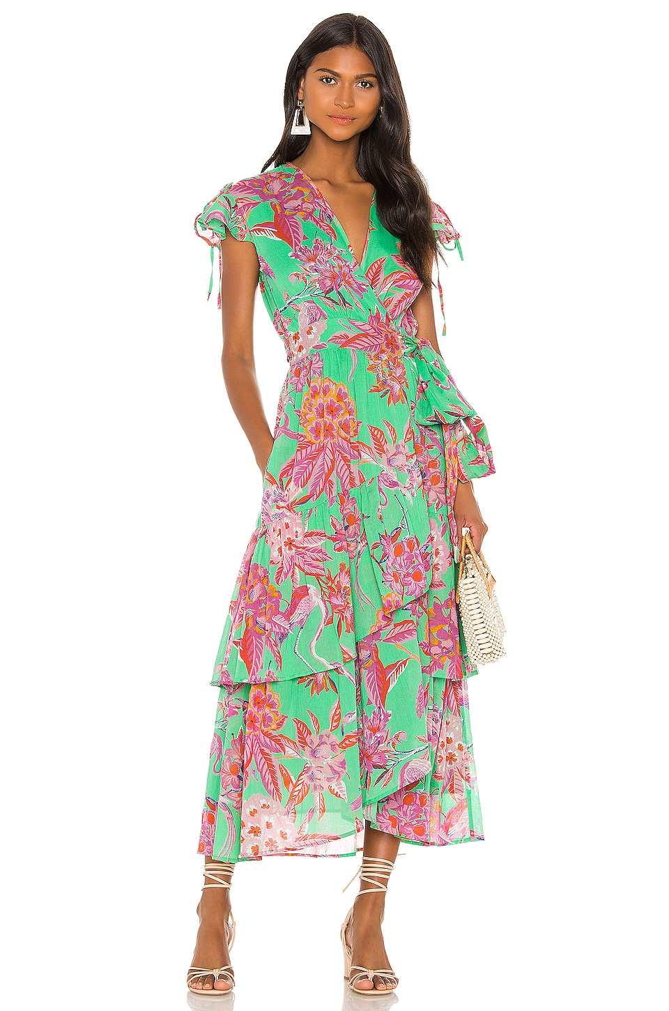 Banjanan Mercy Dress in Flamingo Rhododendron Island Green