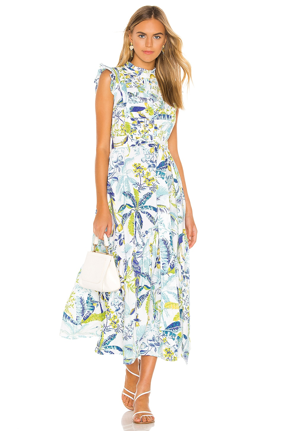 Banjanan Amazon Dress in Lisbon Garden White