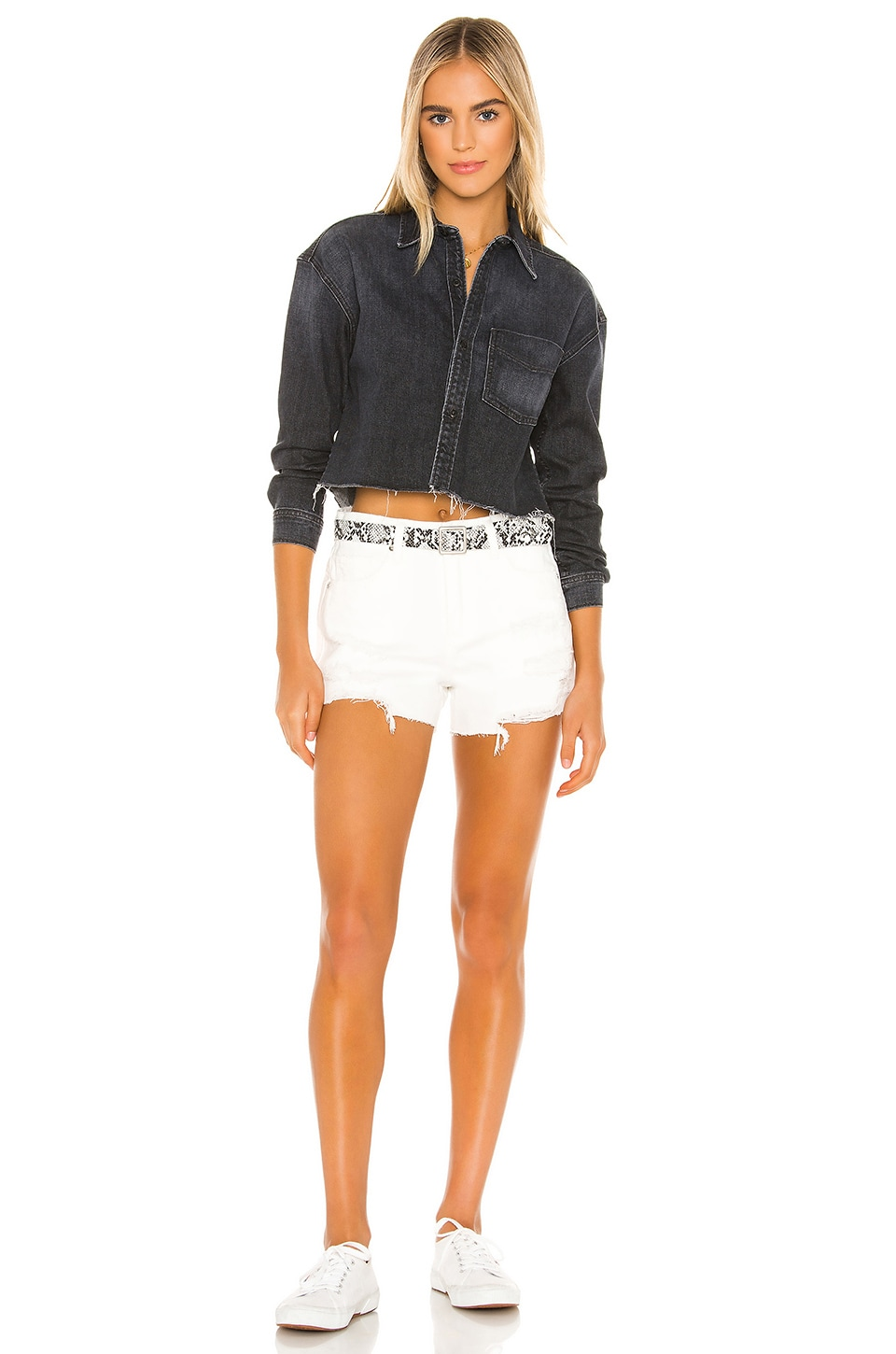 Barrow Vintage High Rise Denim With Snake Belt Short, view 4, click to view large image.
