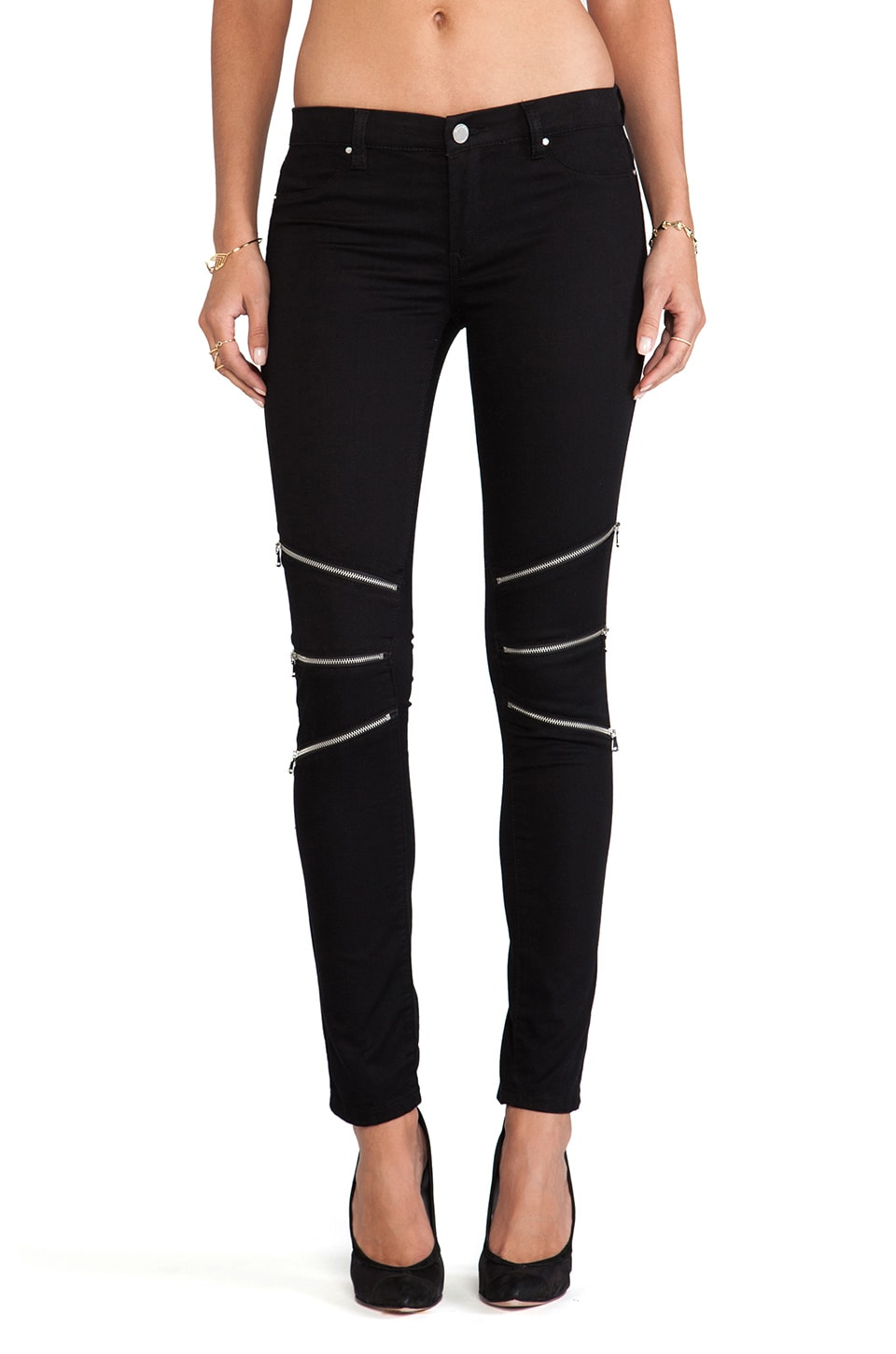 BLANKNYC Skinny Zip Pants in Black Teeth