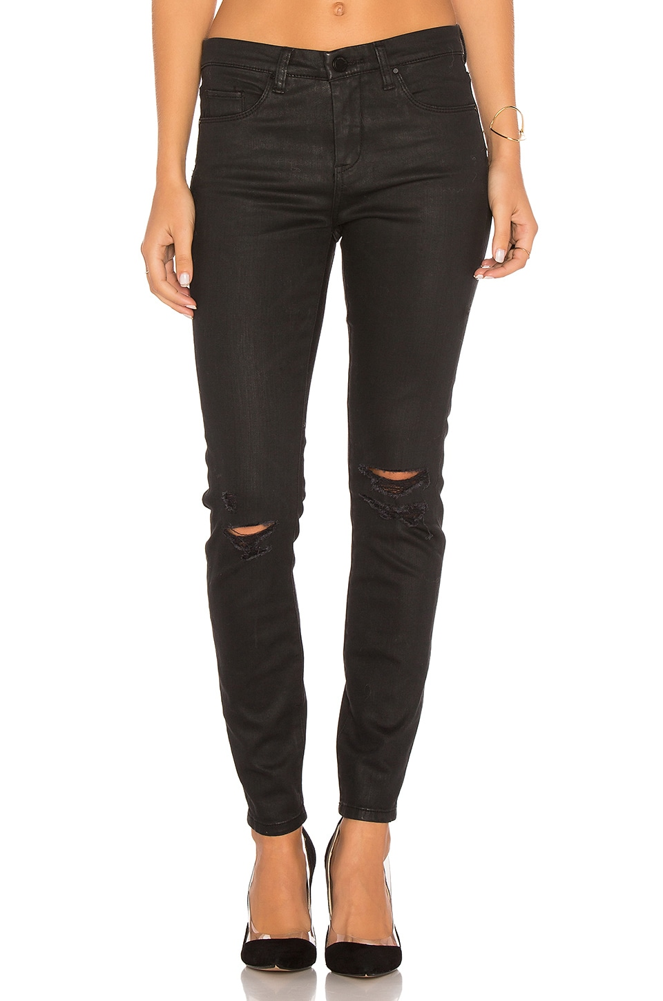 BLANKNYC Coated Distressed Skinny in All Lacquered Up