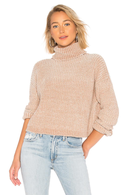 BLANKNYC Chenille Turtleneck Sweater in Topaz
