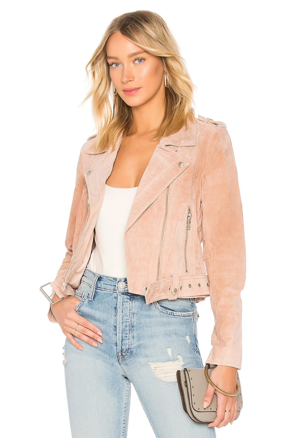 BLANKNYC Belted Suede Jacket in Candy Crush