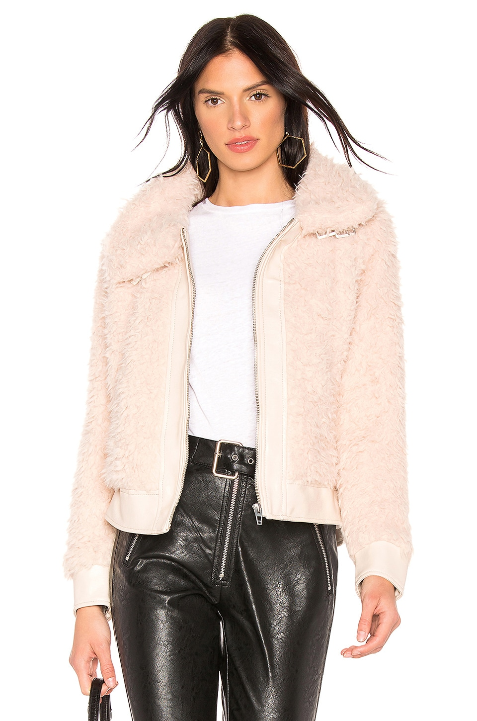 BLANKNYC Teddy Crop Jacket in Cloud Nine