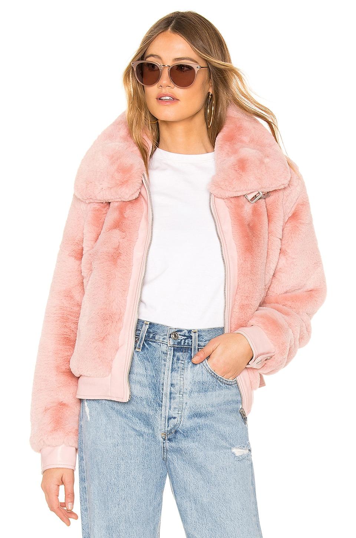 Internet Hobo Faux-Fur Cropped Bomber Jacket in Pink