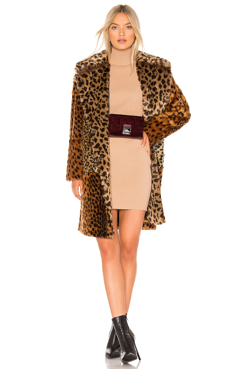 BLANKNYC Patchwork Faux Fur Coat in Party Animal