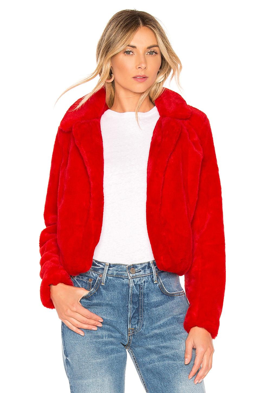 BLANKNYC Siren Faux Fur Jacket in Red