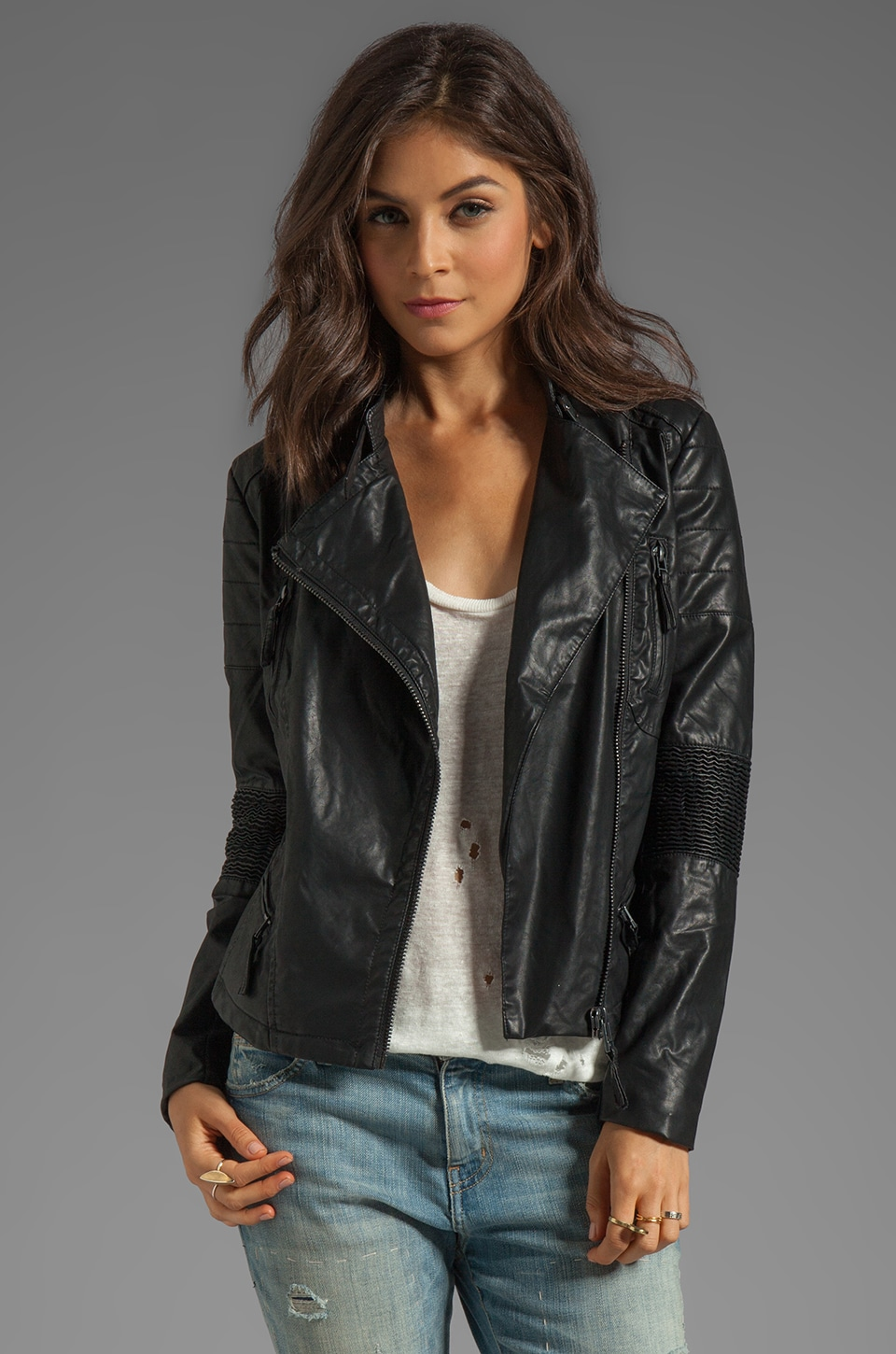 BLANKNYC Leather Biker Jacket in Black