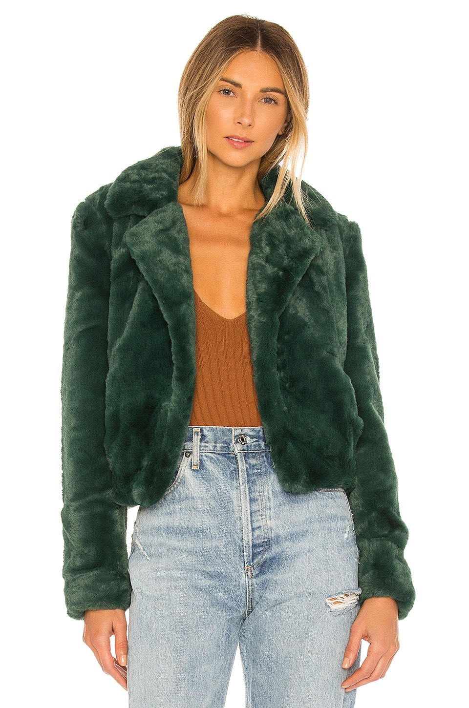 BLANKNYC Faux Fur Moto Jacket in Field Day