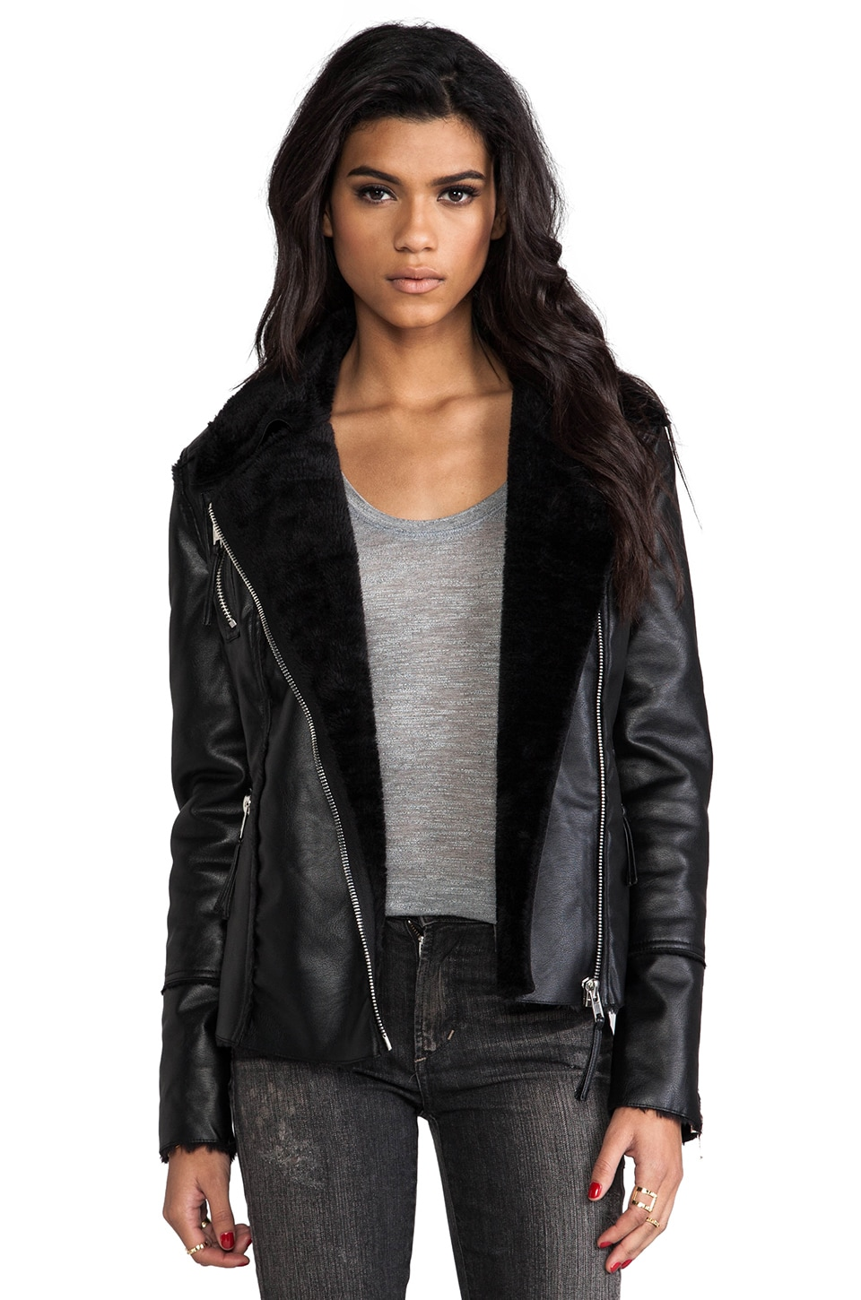 BLANKNYC Faux Shearling Moto Jacket in Black Light