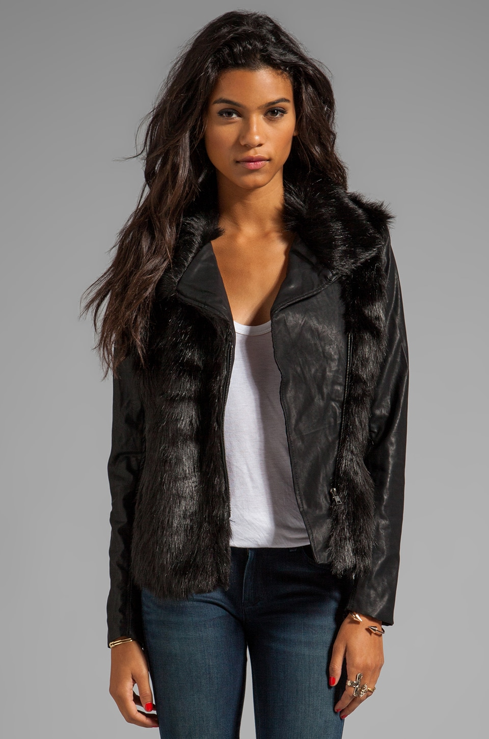 BLANKNYC Shaggy Faux Fur Jacket in Lie