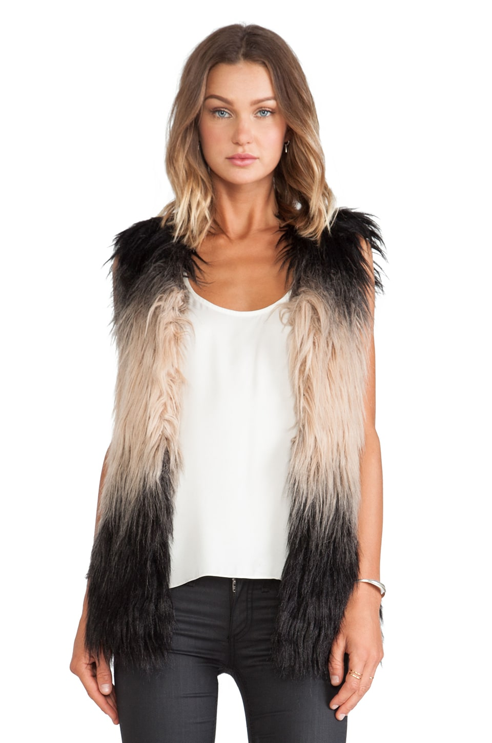 BLANKNYC Faux Fur Vest in Not Fur Real