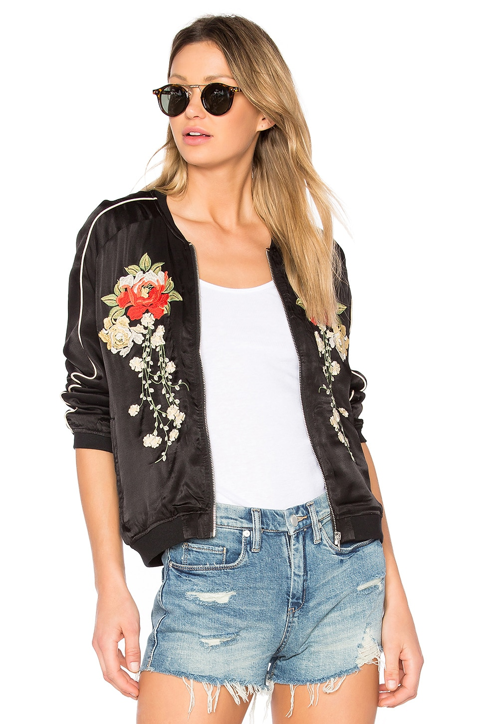 BLANKNYC Embroidered Bomber Jacket in Own The Night