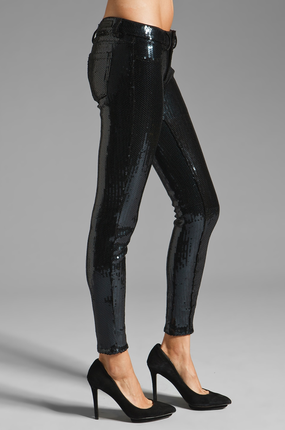 BLANKNYC 5 Pocket Sequin Spray On Skinny in Black