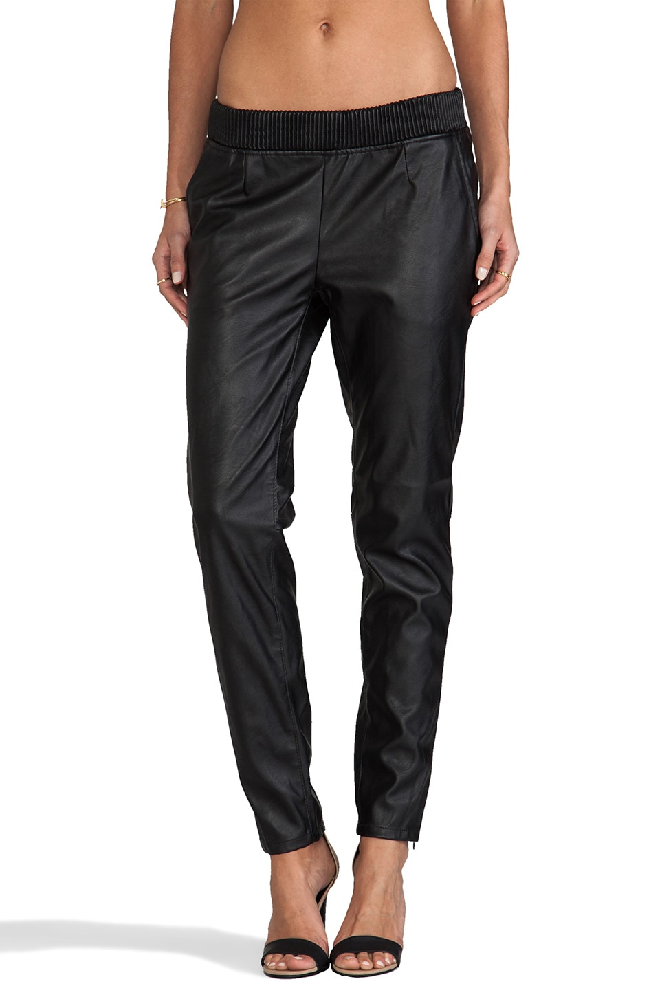 BLANKNYC Leather Sweatpant in Blacked Out