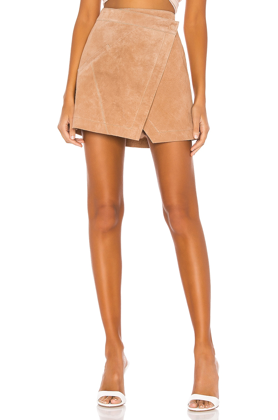 BLANKNYC High Rise Suede Skirt in Almond