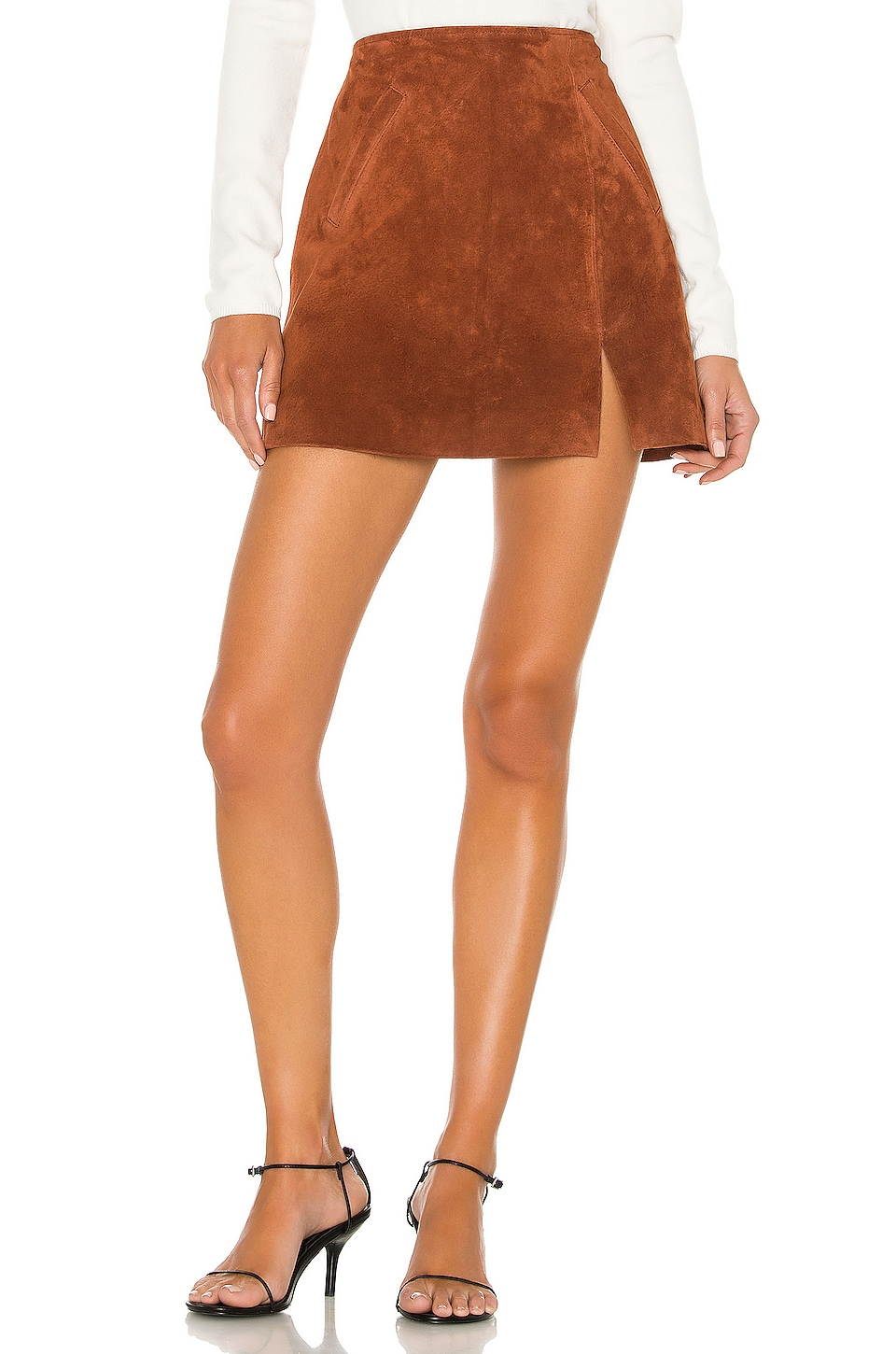 BLANKNYC Dried Tobacco Suede Mini Skirt in Dried Tobacco