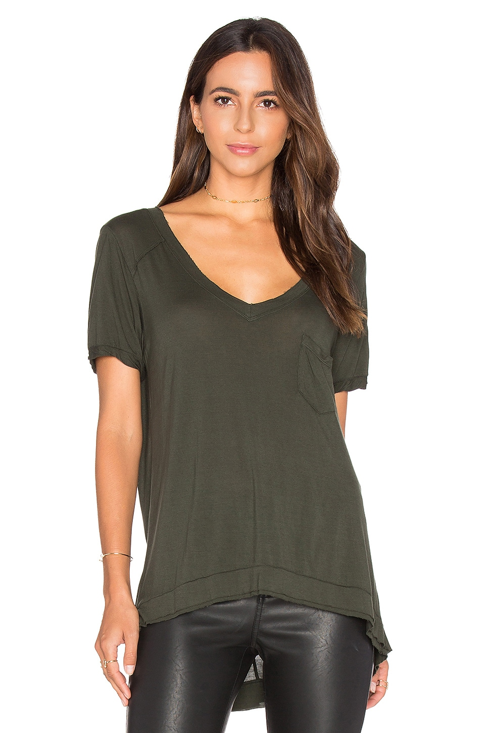 BLANKNYC V Neck Pocket Tee in Olive Oil