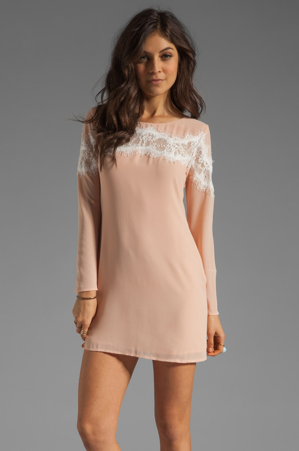 BLAQUE LABEL Long Sleeve Shift Dress in Nude
