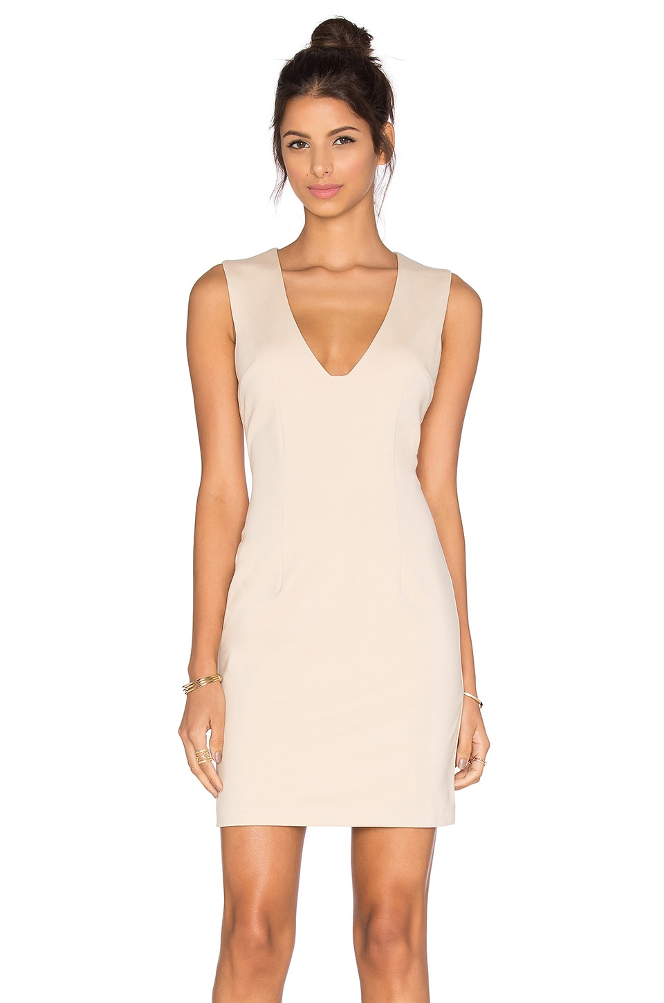 BLAQUE LABEL Plunging Neckline Mini Dress in Sand