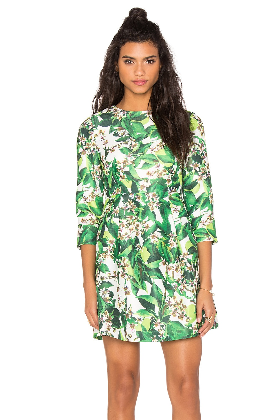 BLAQUE LABEL Long Sleeve Print Dress in Green