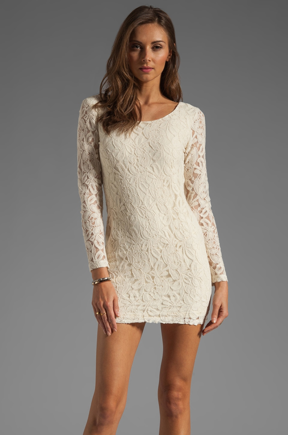 BLAQUE LABEL Long Sleeve Lace Dress in Beige