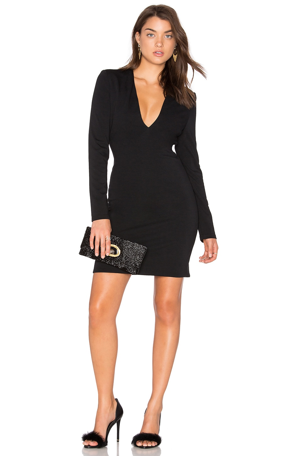 BLAQUE LABEL Deep V Ponte Dress in Black
