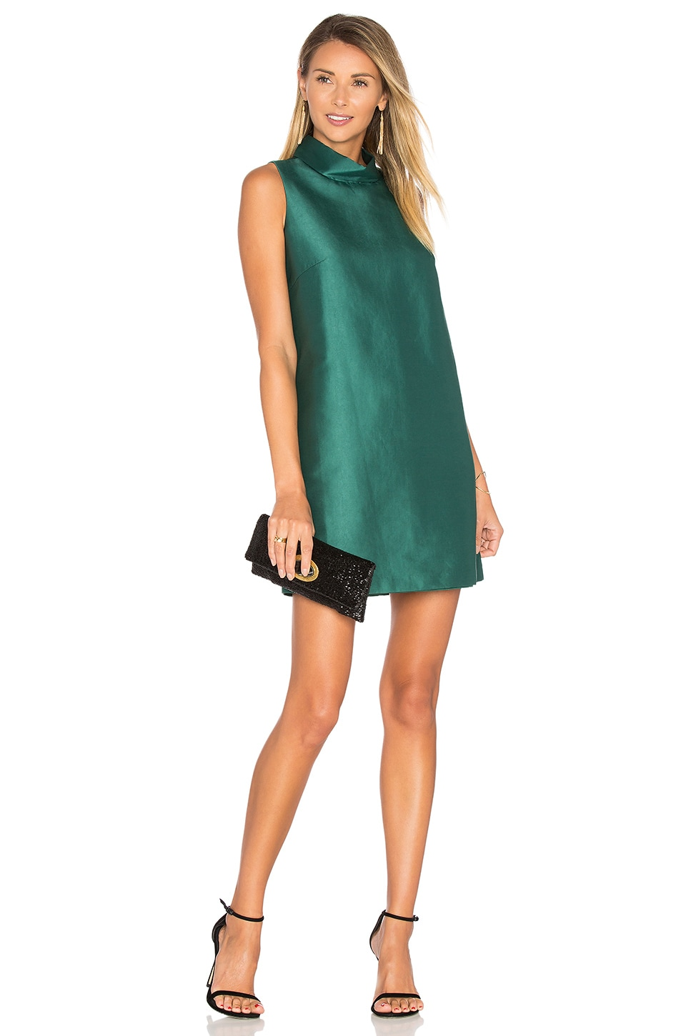 BLAQUE LABEL High Neck Dress in Dark Green