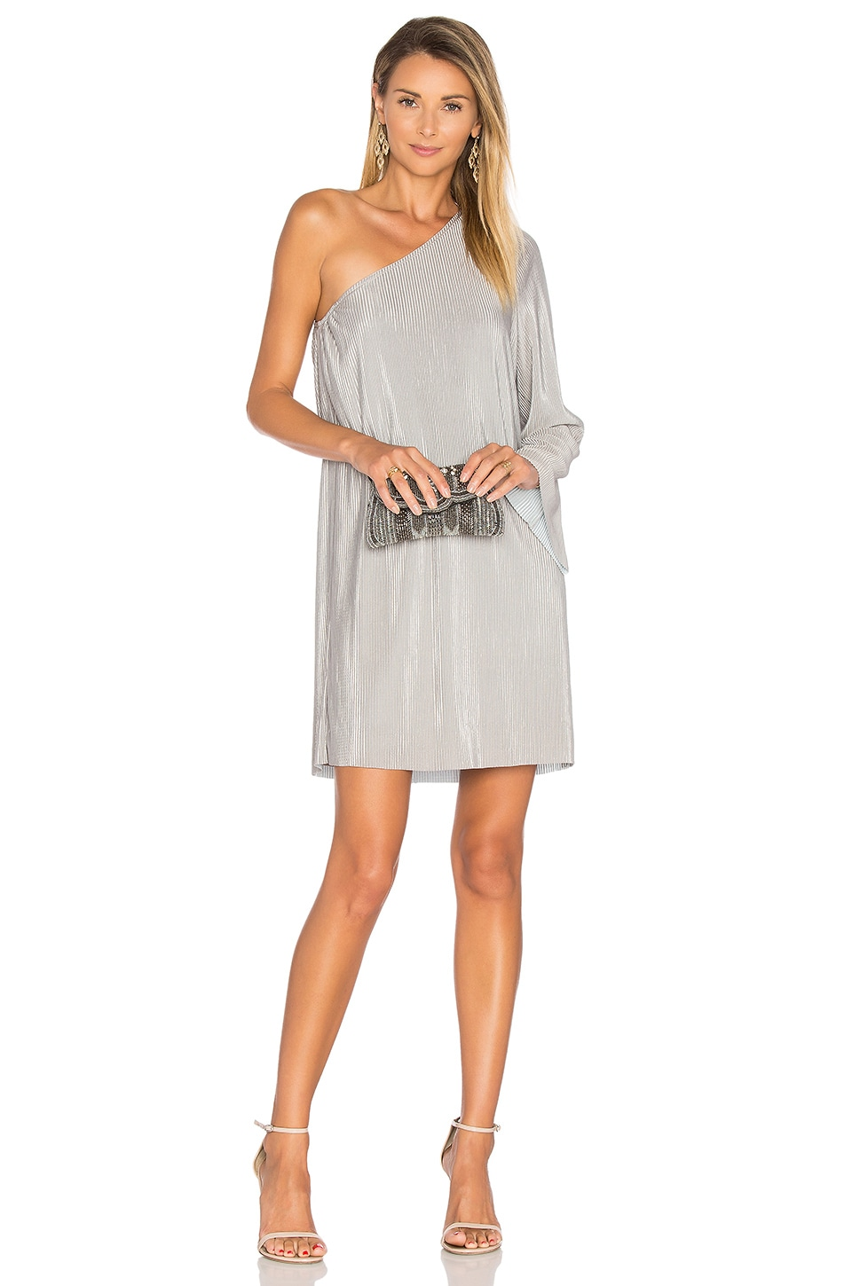 BLAQUE LABEL Luxe One Shoulder Dress in Silver