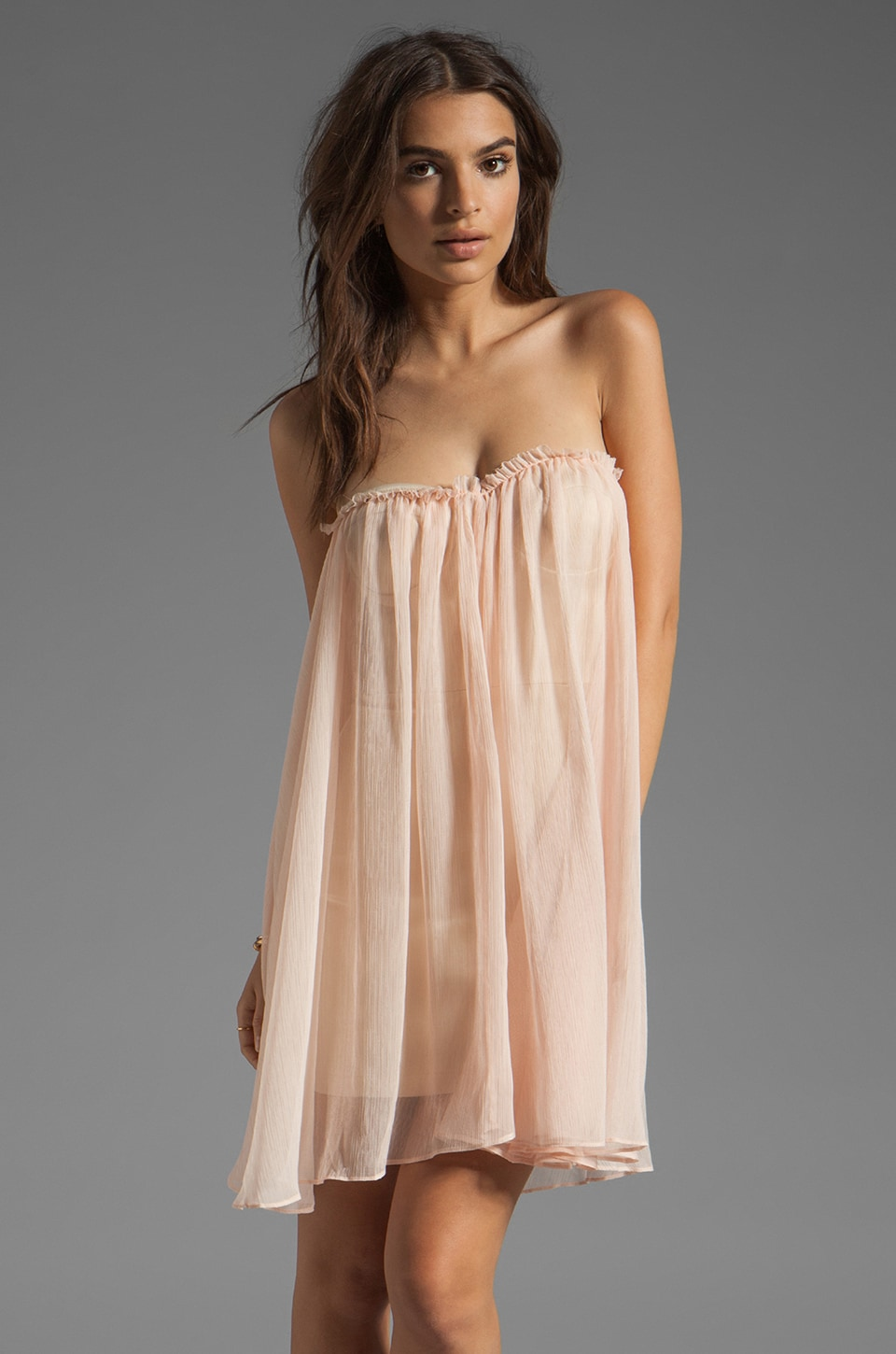 BLAQUE LABEL Strapless Mini Dress in Light Pink