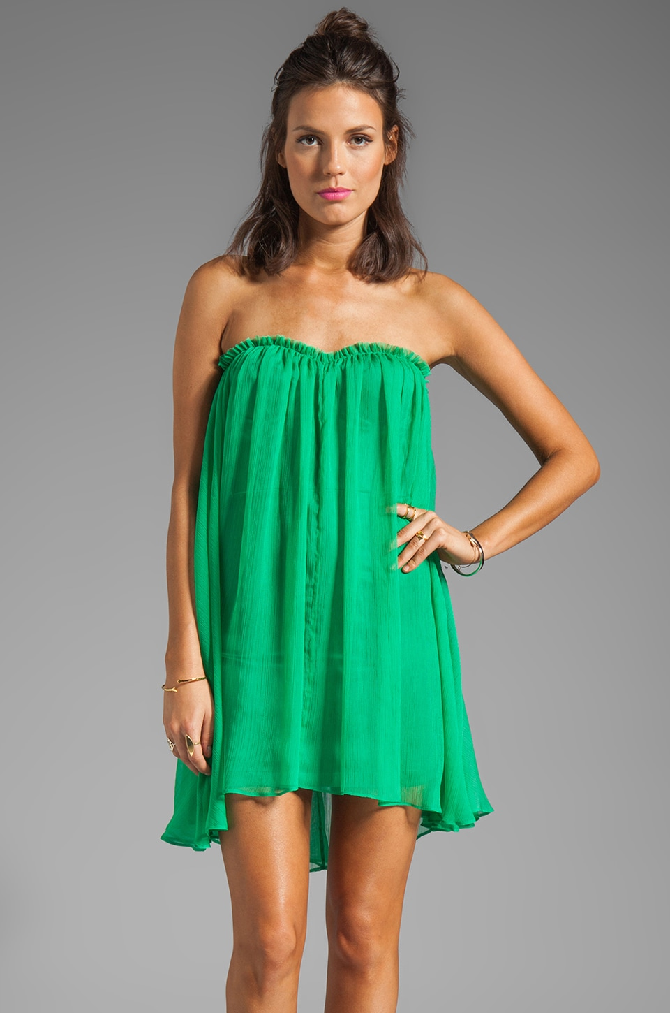 BLAQUE LABEL Strapless Mini Dress in Green