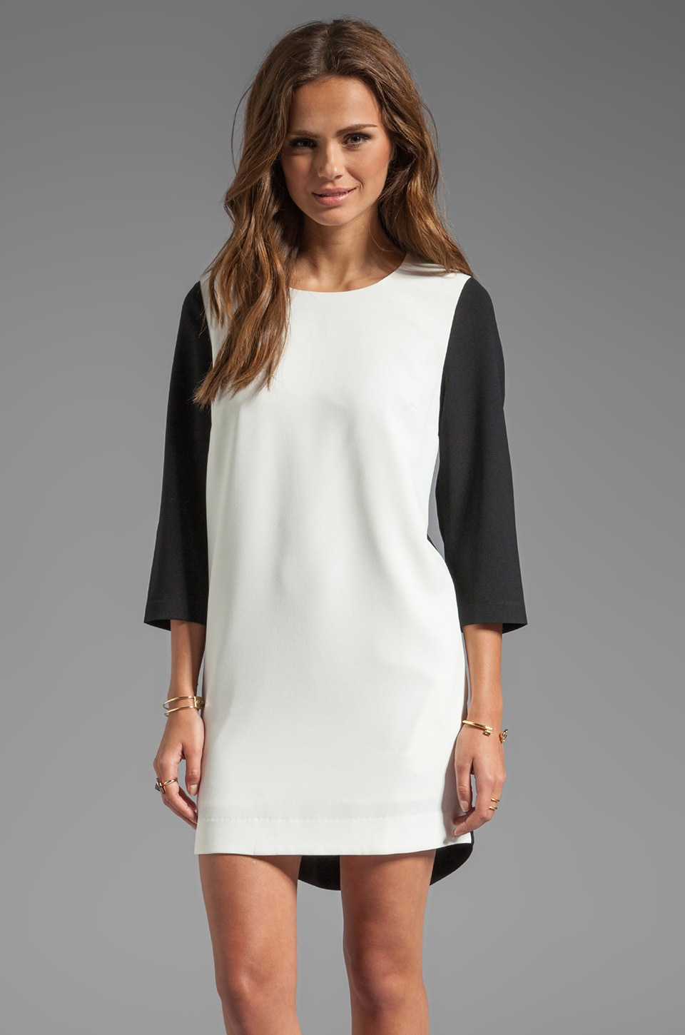 BLAQUE LABEL Color Blocked Dress in White/Black