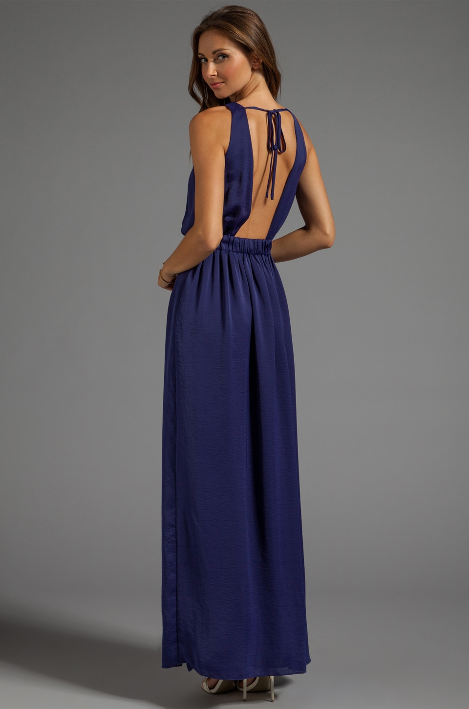 BLAQUE LABEL High Slit Maxi Dress in Dark Blue