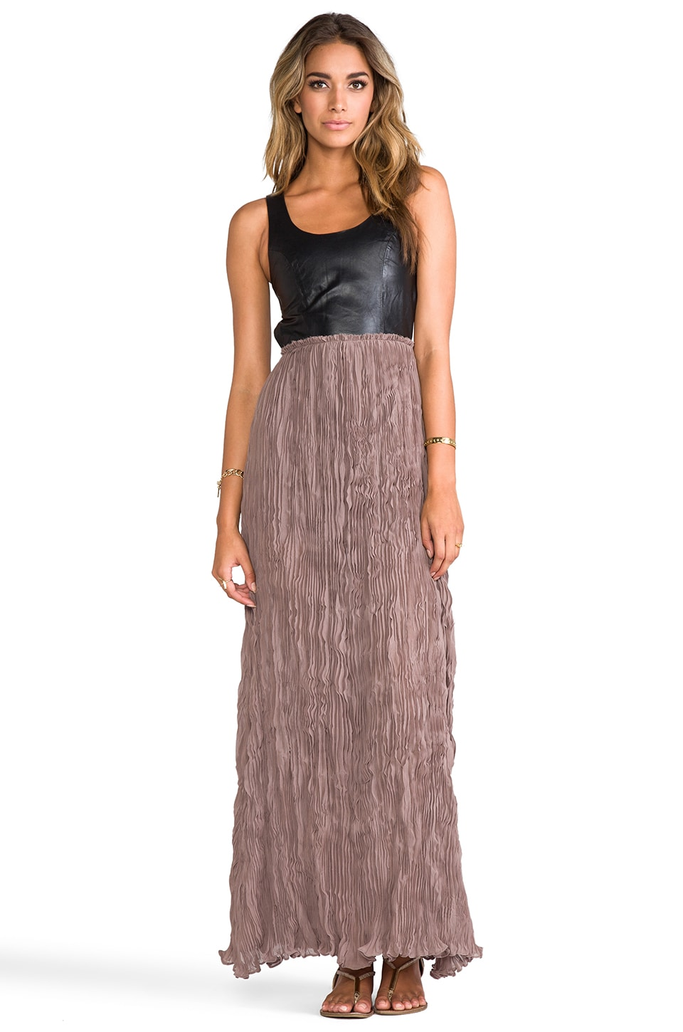 BLAQUE LABEL Leather Detailed Backless Dress in Black/Wood