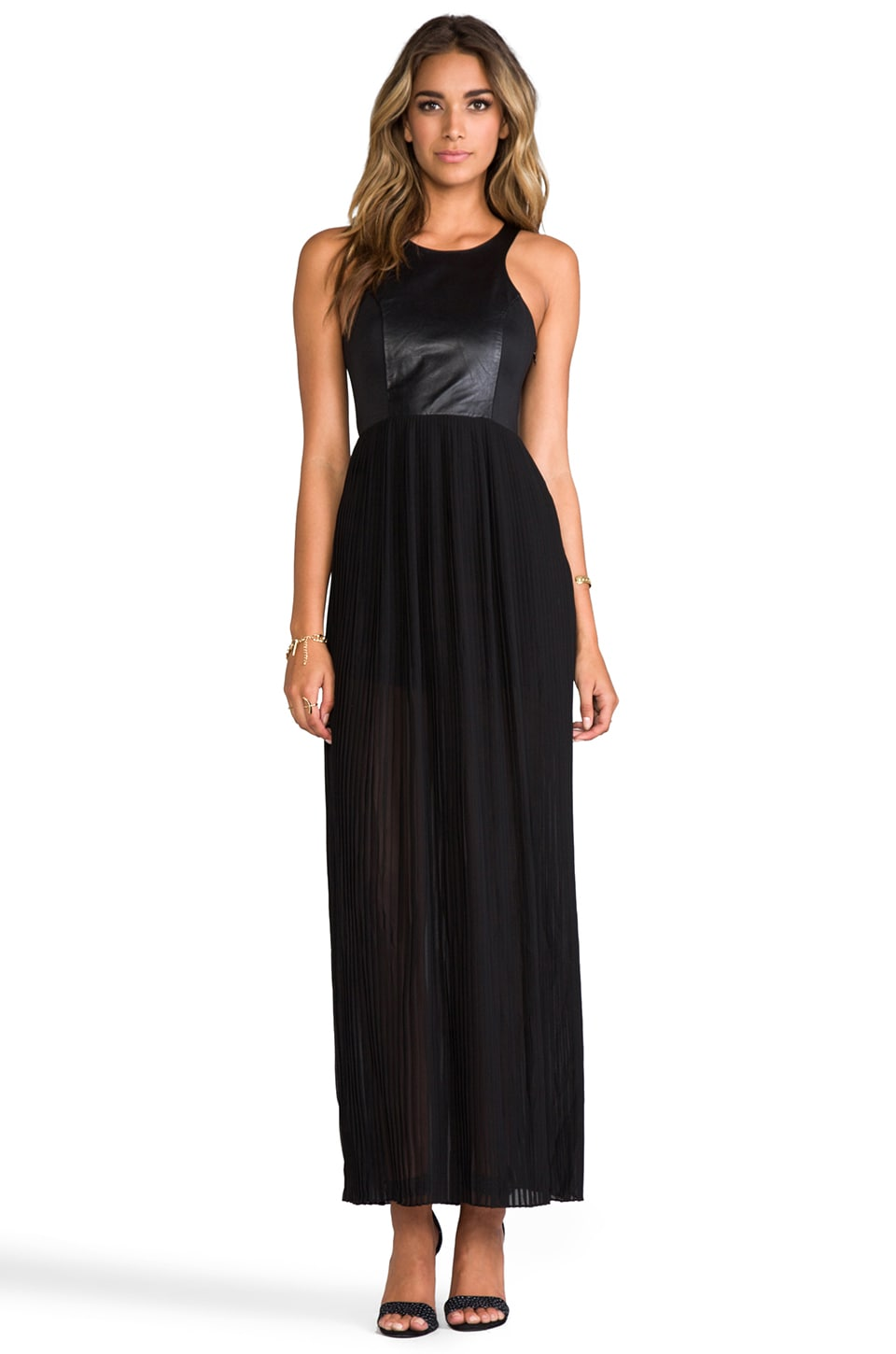 BLAQUE LABEL Leather Detail Tank Maxi Dress in Black