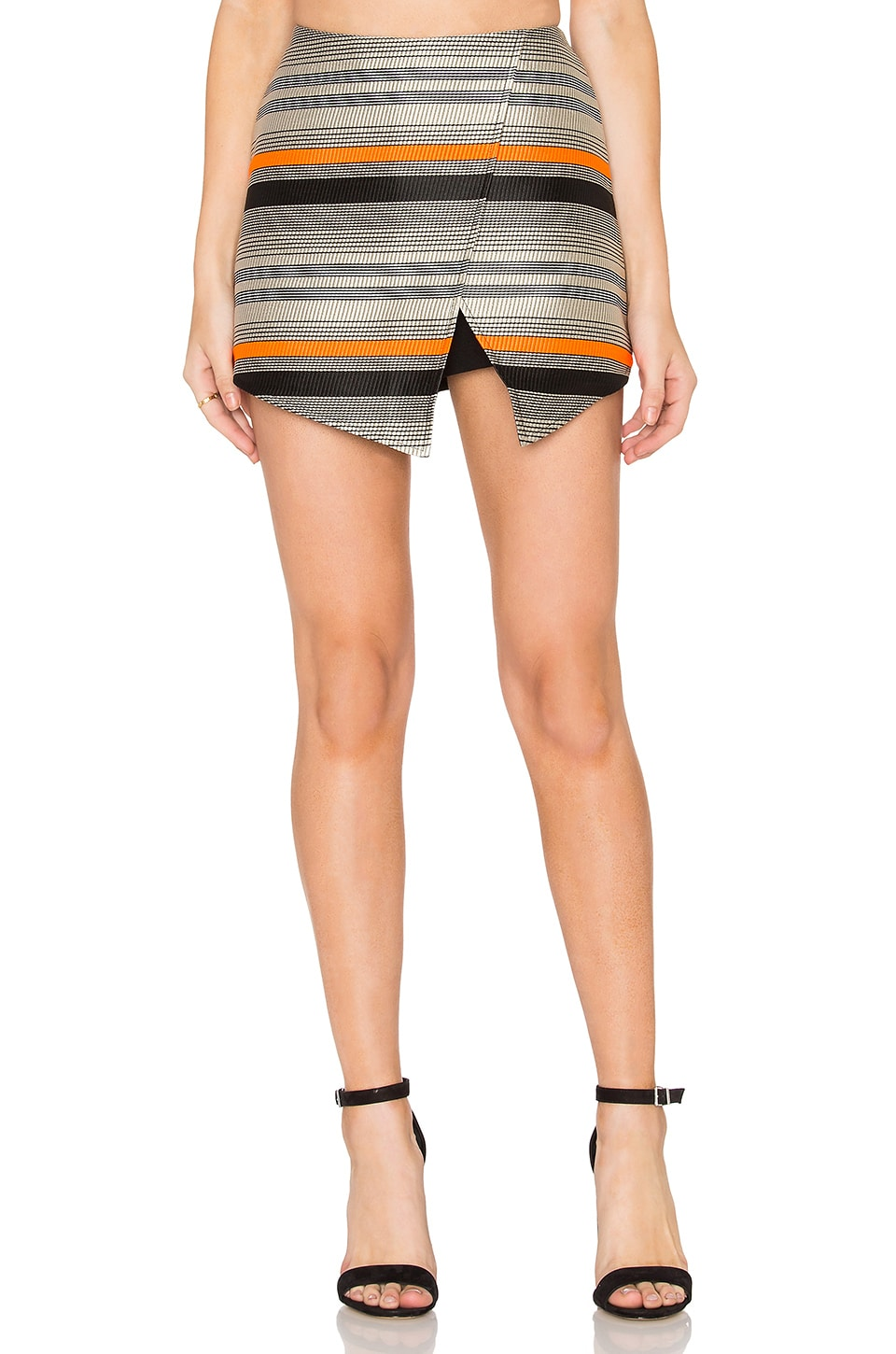BLAQUE LABEL Stripe Wrap Skort in Orange
