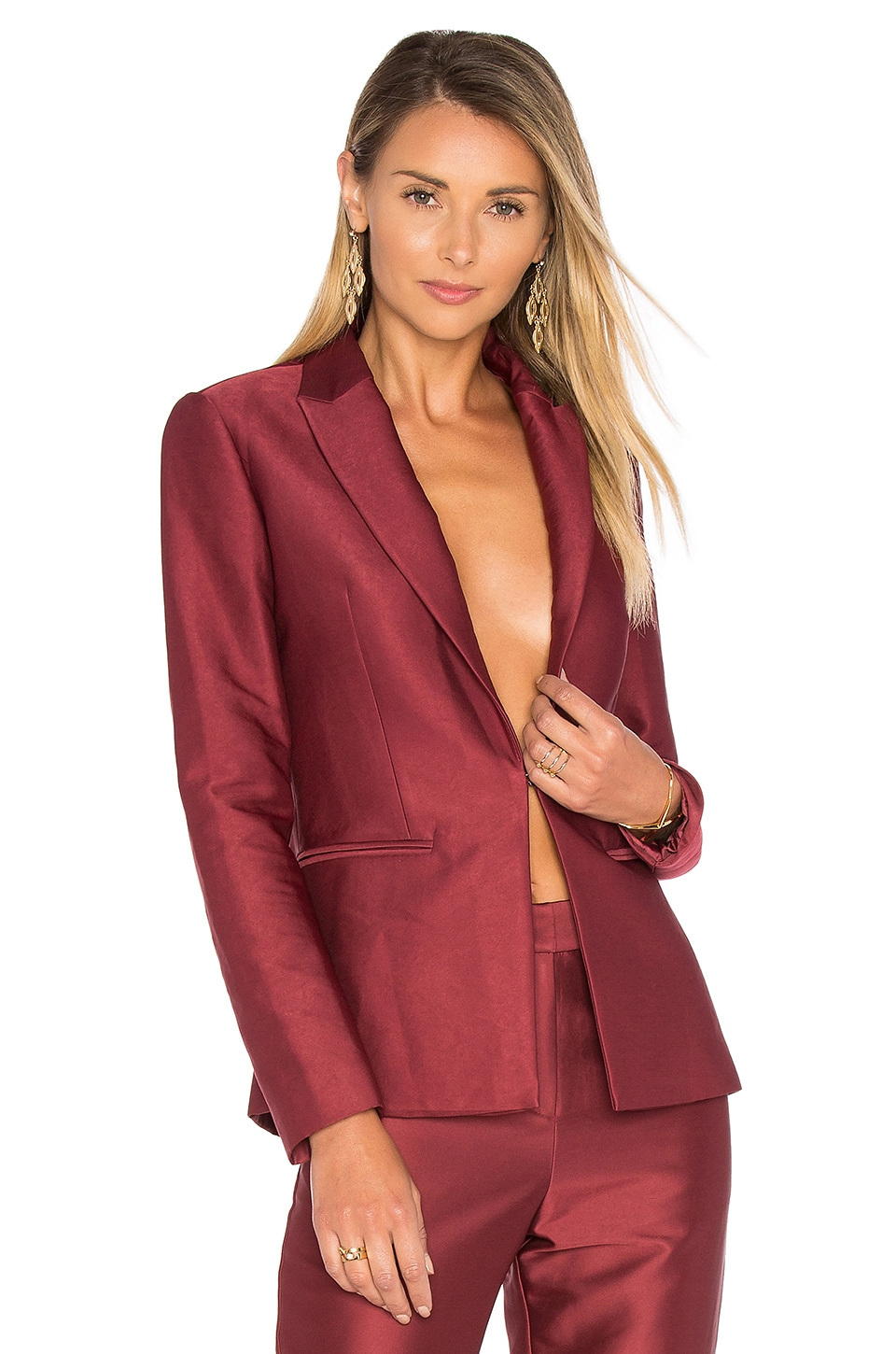 BLAQUE LABEL Fitted Blazer in Bordeaux