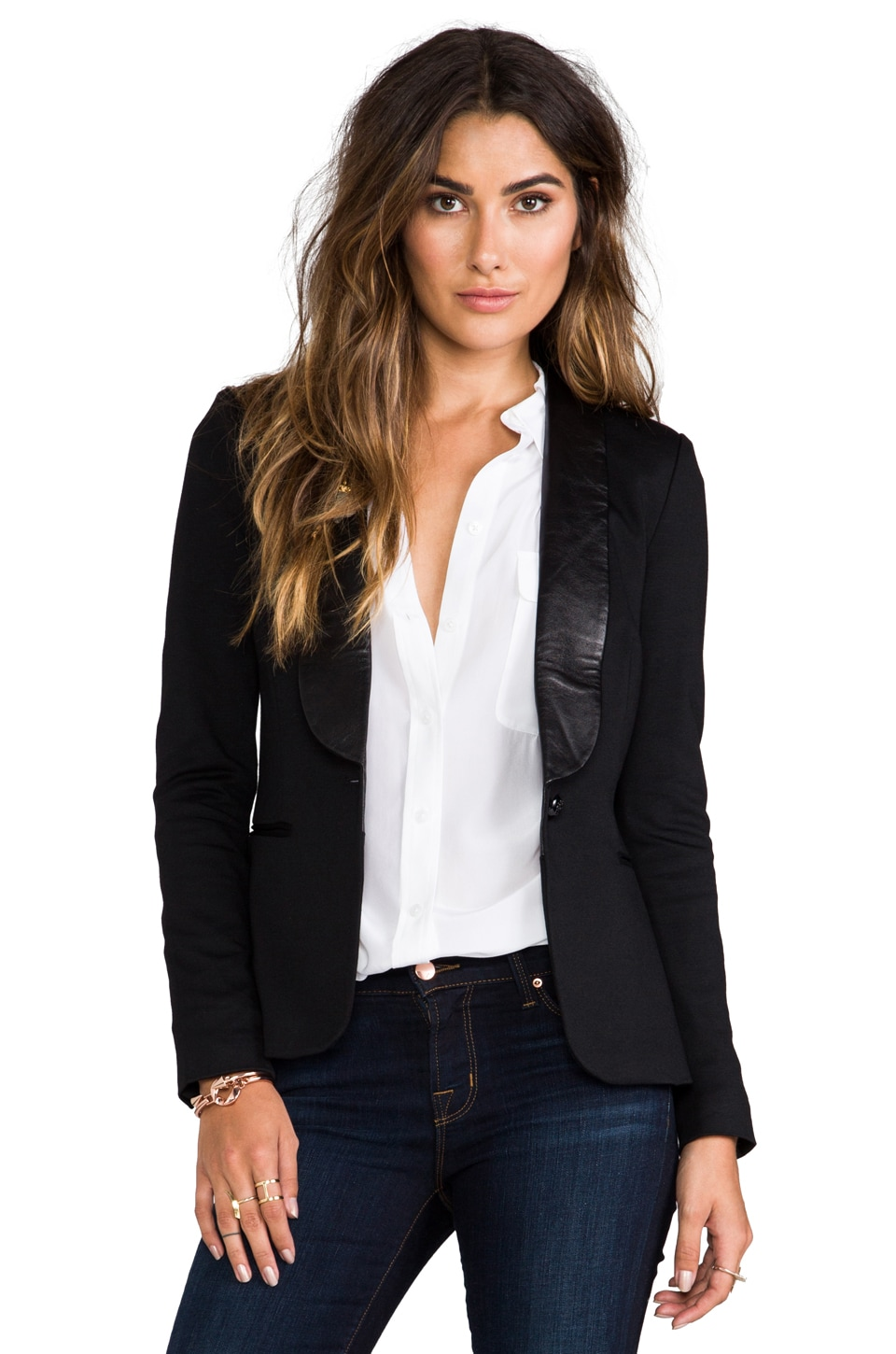 BLAQUE LABEL Leather Detailed Blazer in Black