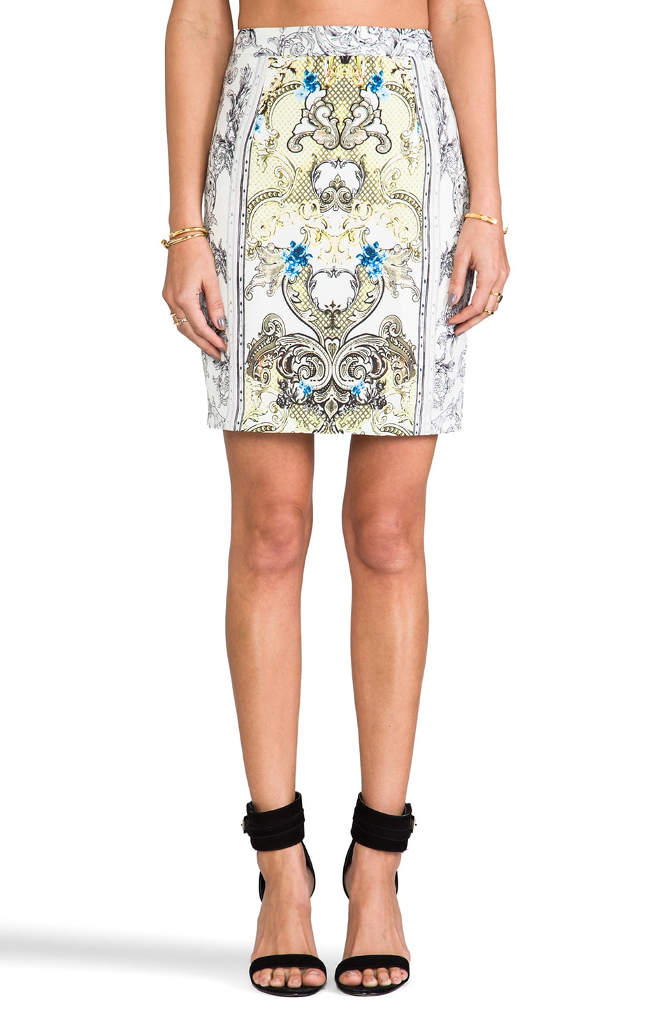BLAQUE LABEL Brocade Print Skirt in Grey