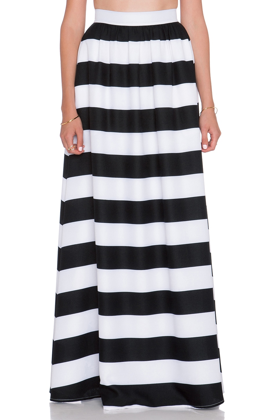 BLAQUE LABEL Striped Maxi Skirt in Black & White | REVOLVE